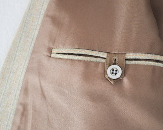 vintage 1970s French beige pinstripe double breas… - image 10