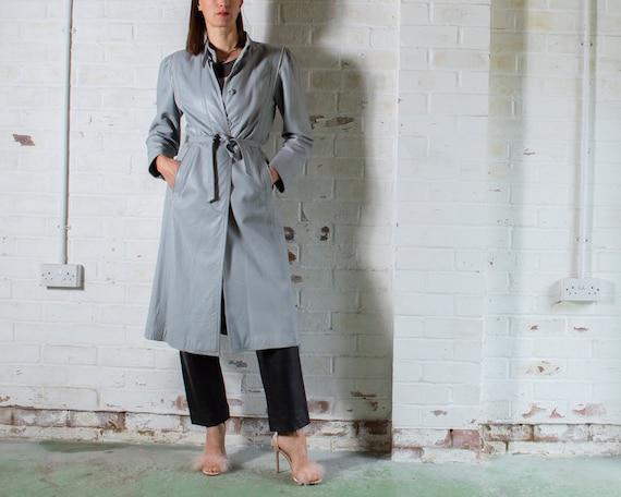 vintage 1970s long grey leather trench coat UK10 … - image 1
