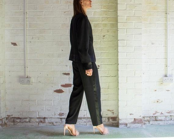 vintage 1990s black single breasted tuxedo pant su