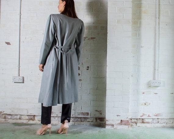 vintage 1970s long grey leather trench coat UK10 … - image 6