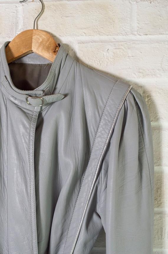 vintage 1970s long grey leather trench coat UK10 … - image 9