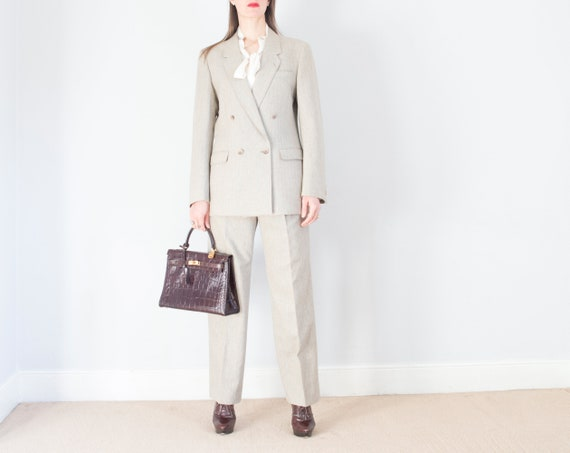 vintage 1970s French beige pinstripe double breas… - image 4