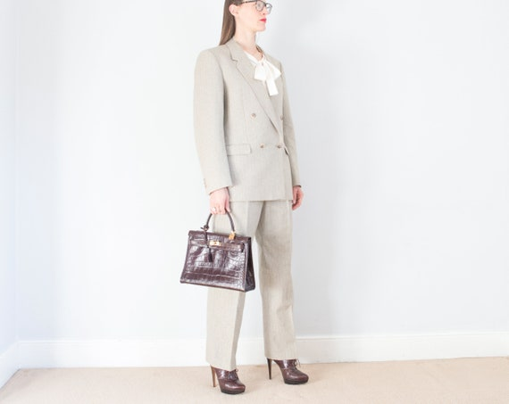 vintage 1970s French beige pinstripe double breas… - image 2