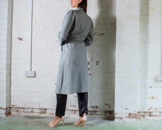 vintage 1970s long grey leather trench coat UK10 … - image 3