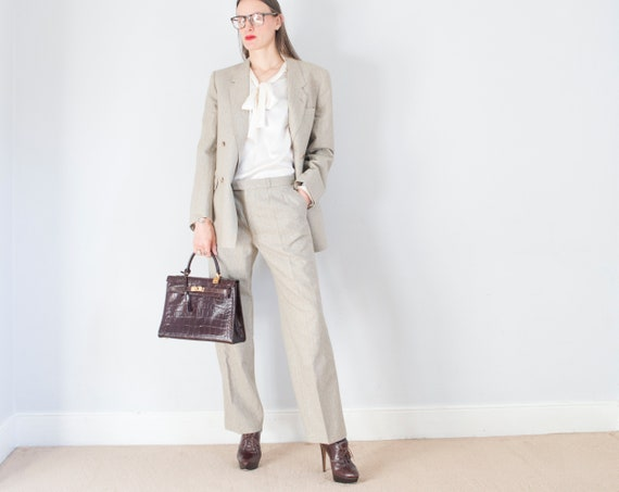 vintage 1970s French beige pinstripe double breast