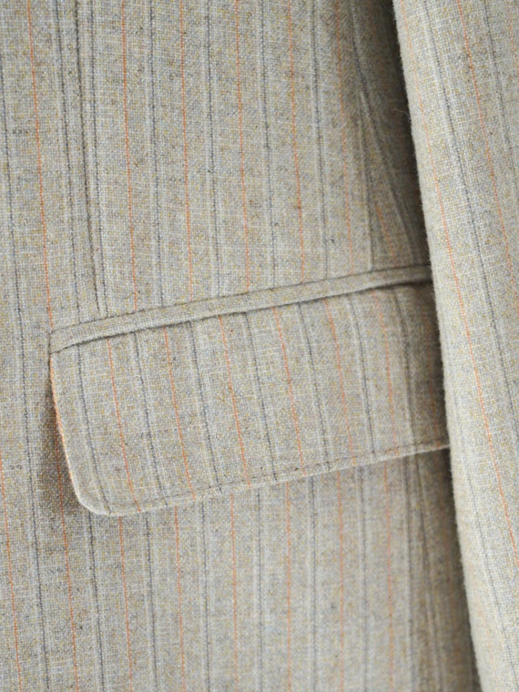 vintage 1970s French beige pinstripe double breas… - image 9