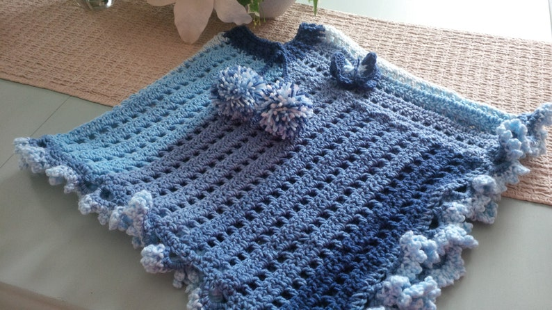 ids Poncho - Child's Pocho - Girls Poncho - Crochet Poncho - Poncho Cape -  Poncho Coat - Cape - Poncho - Girls size 4 to 6 ponncho
