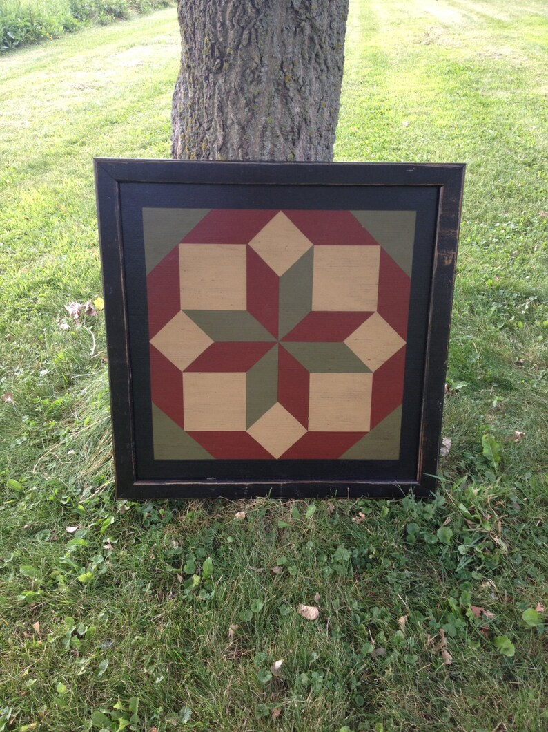 PriMiTiVe Hand-Painted Barn Quilt 3' x 3'  Rolling image 0