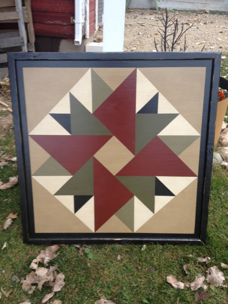 PRiMiTiVe Hand-Painted Barn Quilt  3' x 3' Double image 0