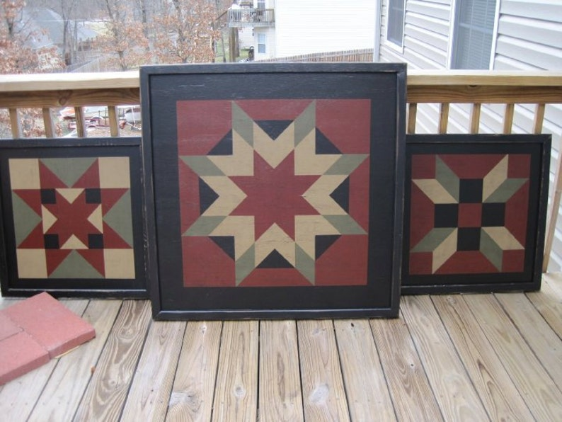 PriMiTiVe Hand-Painted Barn Quilt Thick Frame 2' x 2' image 0