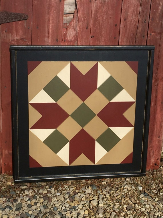 Primitive Hand Painted Barn Quilt Small Frame 2 X 2 Etsy