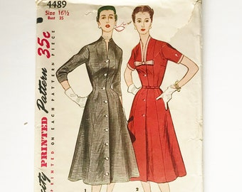 358658a8a5cb 1950s 35 Bust Dress   Half Size Simplicity 4489 Factory Folds Uncut    Vintage Sewing Pattern 50s Dress   New Look   Medium   Free Shipping
