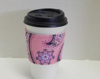 Reusable Drink Wrap Pink Paisley