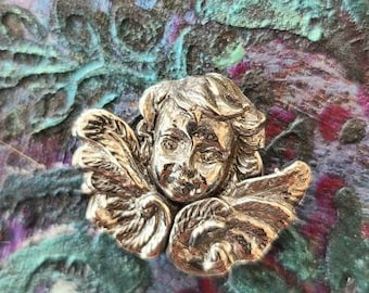 reclaimed fine silver rare earth magnet -tombstone cherub- needleminder