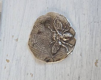 reclaimed fine silver rare earth magnet - spider's treasure - needleminder