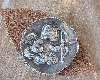 reclaimed fine silver rare earth magnet -elegant cherub- needleminder