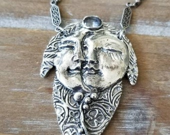 Artisan fine silver decorated crescent moon full moon faces
