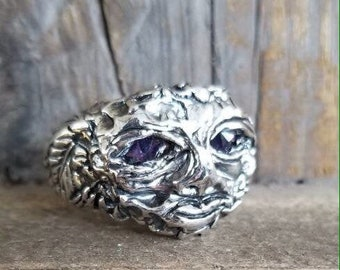 Artisan fine silver moon face glinting amethyst eyes