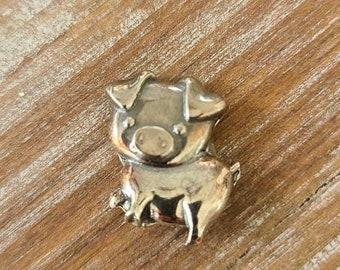 reclaimed fine silver rare earth magnet - this little piggy - needleminder