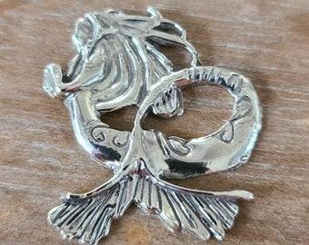 reclaimed fine silver rare earth magnet - sea maiden - needleminder