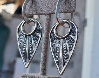 Fine silver elegant moonshine, abstract burst, hoop earrings