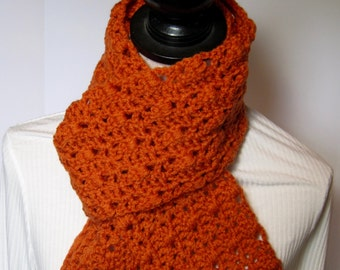 Pumpkin Scarf, Orange Scarf, Winter Scarf, Fall Scarf, Gift for Her, Crochet Scarf, Crochet Scarves, Pumpkin Crochet Scarf, Orange Crochet