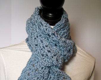 Blue Scarf, Baby Blue Scarf, Winter Scarf, Fall Scarf, Gift for Her, Light Blue Scarf, Crochet Scarf, Blue Crochet Scarf, Blue Crochet