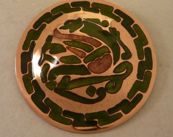 Limoges Champleve Brooch (green)