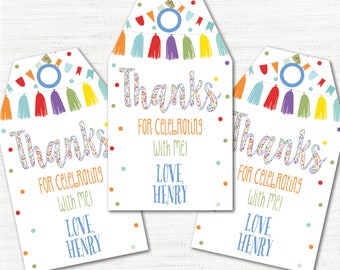 Instant Download! Blue Editable First Birthday Confetti Party Favor Tags