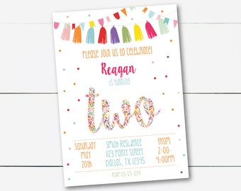 Instant Download! Pink Editable Second Birthday Confetti Party Invitation