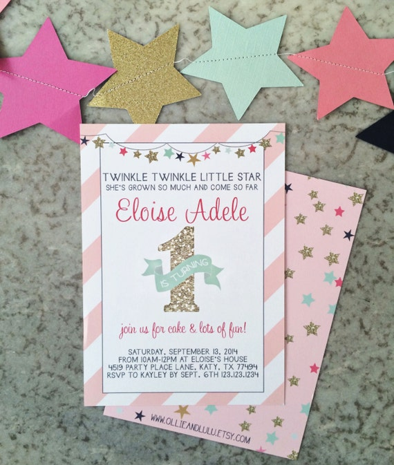 instant download pink and gold twinkle twinkle little star 1st