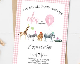 Gingham Watercolor Party Animal Birthday Invitation Pink - Editable Instant Download