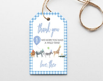 Gingham Watercolor Birthday Party Favor Tags - Editable Instant Download