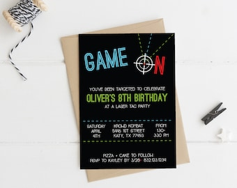Laser Tag Party Invitation - Instant Download - Editable
