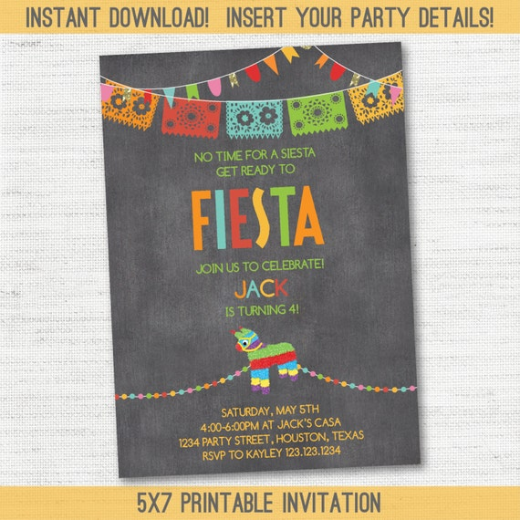 INSTANT DOWNLOAD Chalkboard Picado Bunting Banner Pinata