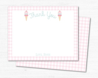 Thank You Cards - Ice Cream Cone - Instant Download - Editable