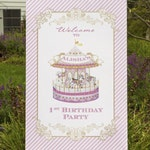 CAROUSEL Printable 72 x 36 inch Party Backdrop or 24x36 inch Welcome Sign