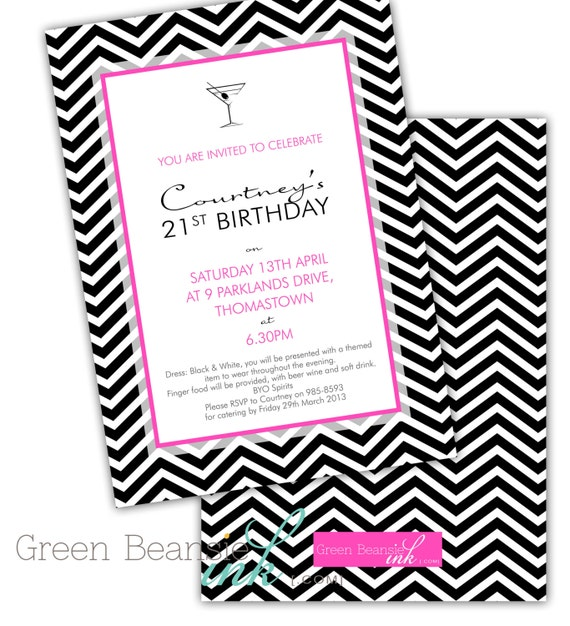 black and white chevron 21st birthday party printable invitation