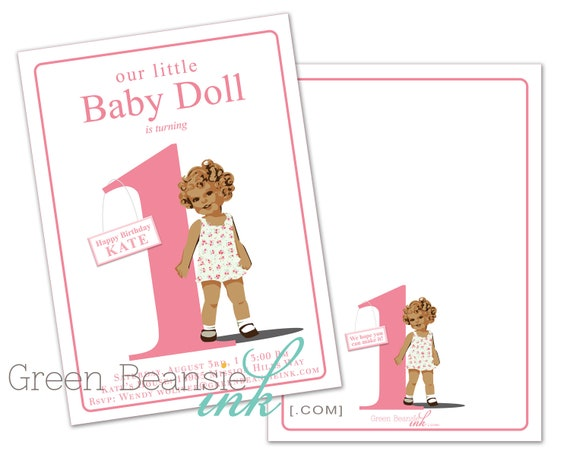 BABY DOLL Or PRINCESS Printable Birthday Party Invitation