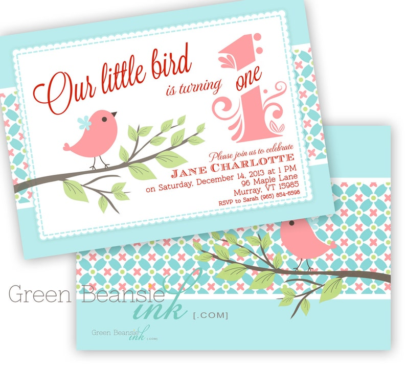 LITTLE BIRD Printable Birthday Party Invitation  Printing image 0