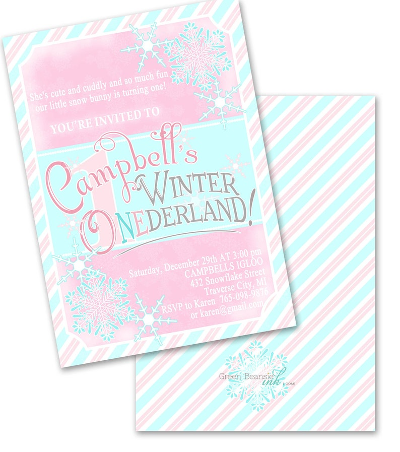 RETRO WINTER ONEDERLAND Printable Party Invitation Printing image 0