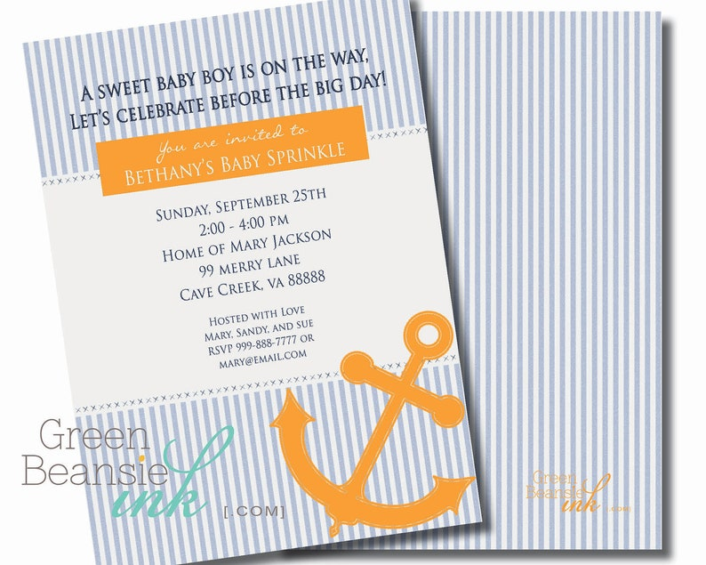 NAUTICAL SEERSUCKER Printable Party Invitation  Blue and image 0