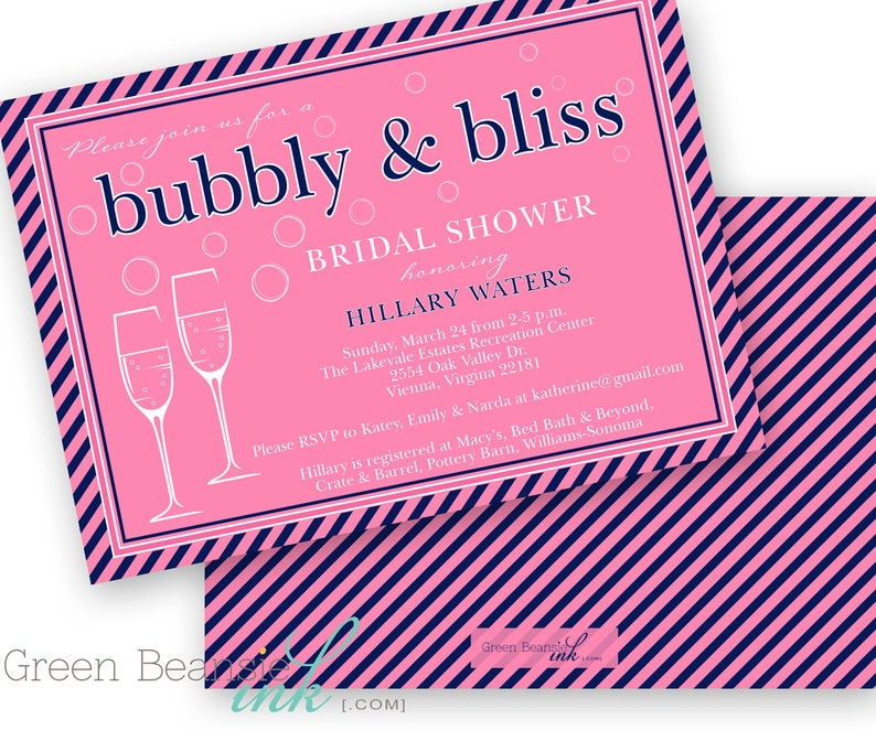 PINK and NAVY Bubbly & Bliss Bridal Shower Printable Party image 0