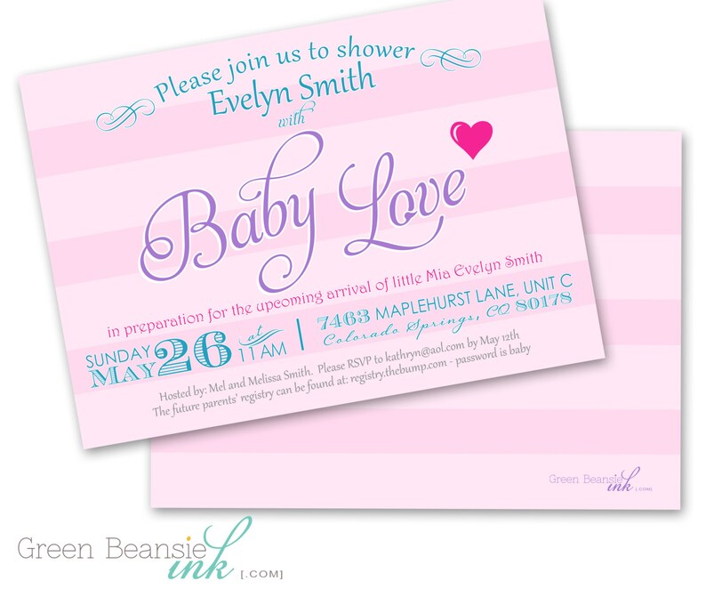BABY LOVE Printable Baby Shower Party Invitation  Printing image 0
