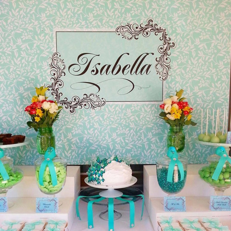 BOTANICAL aqua and black Printable Party 72x39 Backdrop  for image 0