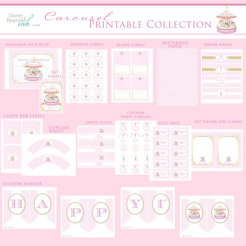 CAROUSEL Printable Party Decor Package image 0