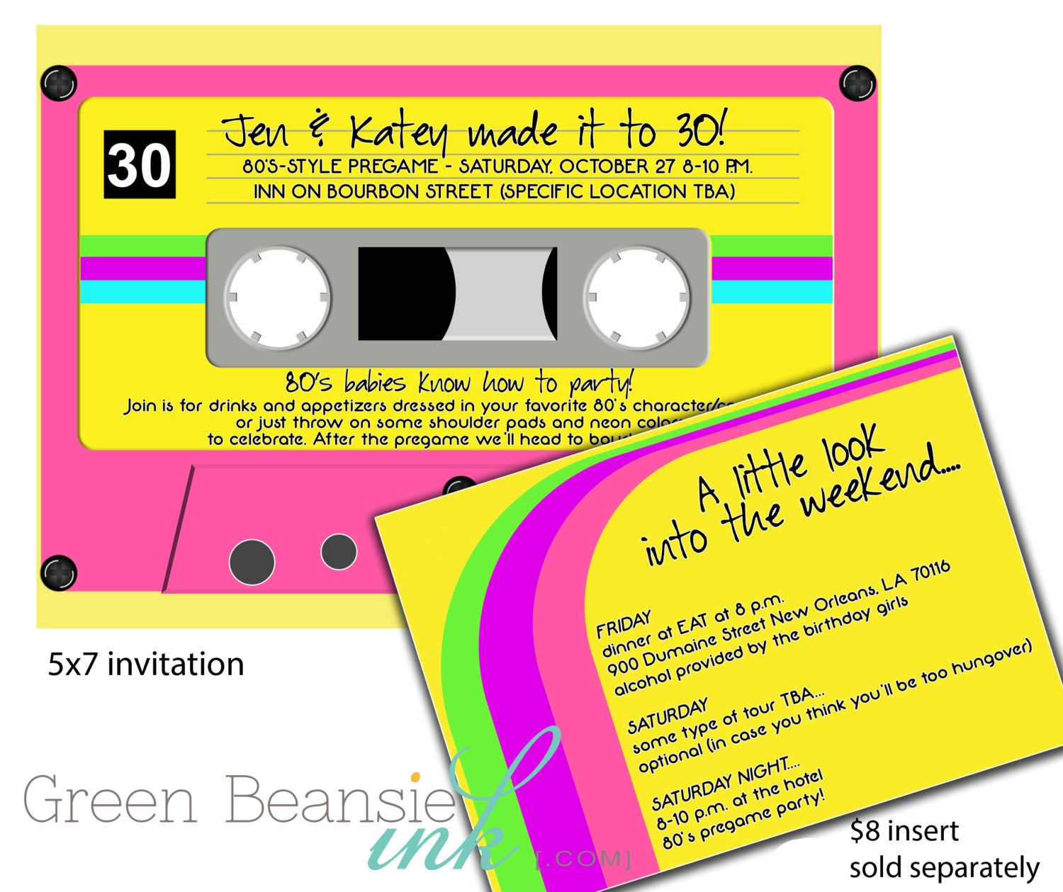 80s Or 90s CASSETTE TAPE Printable Party Invitation Neon Colors
