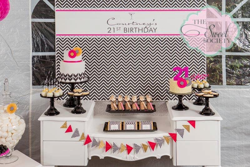 black and white chevron 21st birthday party printable backdrop etsy