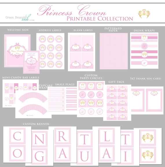 pink and gold princess crown printable party decor package etsy