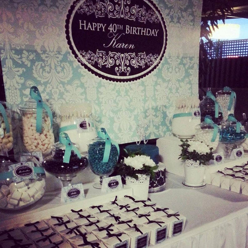 DAMASK aqua and black Printable Party 72x39 Backdrop  for image 0